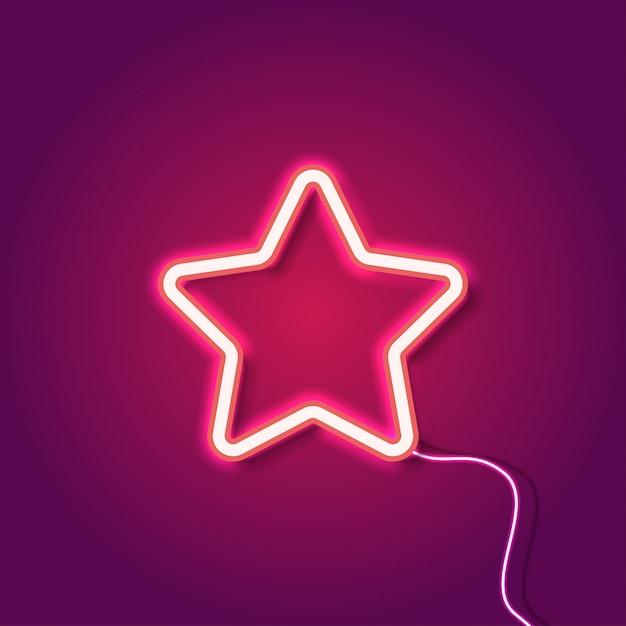 Estrela de néon vermelho no fundo roxo Vetor Premium