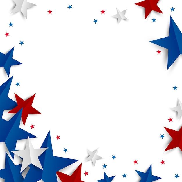 Estrela de papel no fundo branco com espaço de cópia dia da independência e bandeira de férias Vetor Premium
