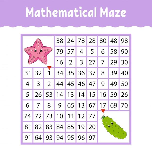 Estrela do mar, pepino de legumes. labirinto quadrado matemático. jogo para crianças. Vetor Premium