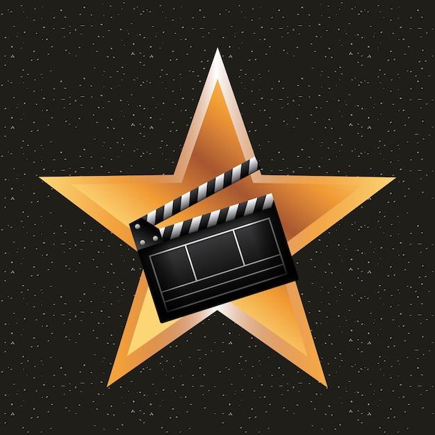Estrela dourada com ícone de ripa Vetor Premium