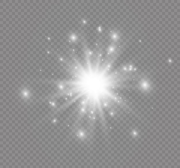 Estrela em fundo transparente, efeito de luz Vetor Premium