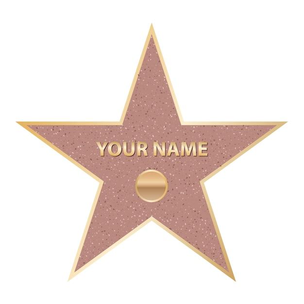 Estrela famosa do ator do passeio. caminhada de hollywood da fama Vetor Premium