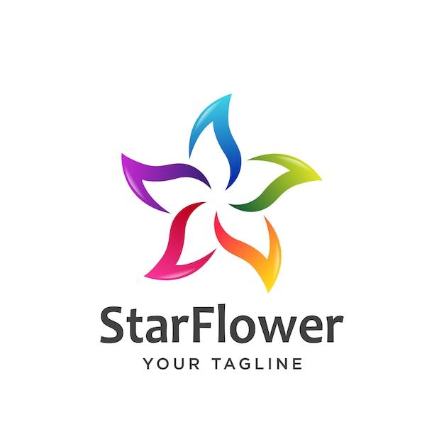 Estrela flor logotipo simples limpo. Vetor Premium