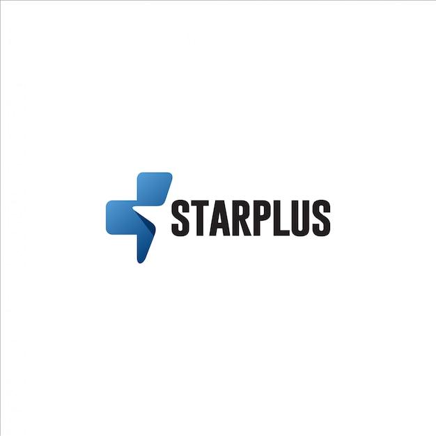 Estrela mais modelo de logotipo Vetor Premium
