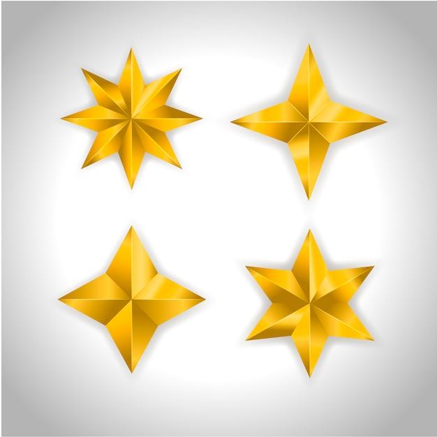 Estrela realista metálico dourado isolado amarelo 3d natal Vetor Premium