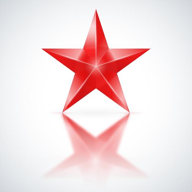 Estrela vermelha em fundo branco Vetor Premium