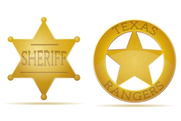Estrela xerife e ilustração vetorial de guarda florestal Vetor Premium