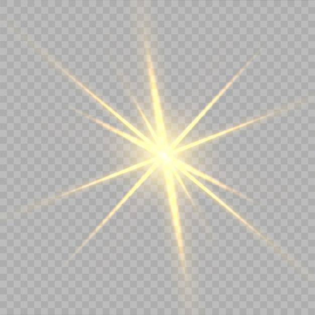 Estrelas amarelas, luz, reflexo de lente, brilho, flash do sol. Vetor Premium