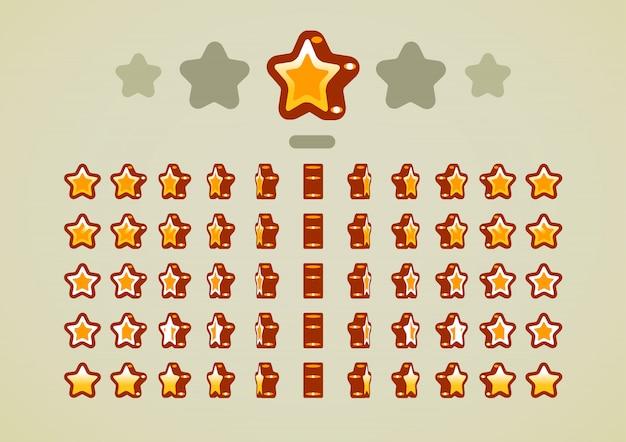 Estrelas animadas douradas para jogos de vídeo Vetor Premium