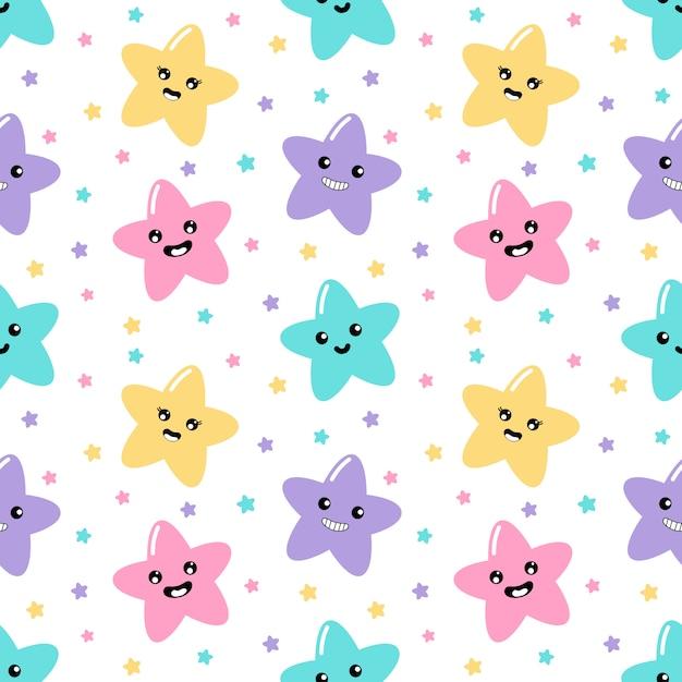 Estrelas bonitos do kawaii pastel com teste padrão sem emenda dos desenhos animados engraçados das caras no fundo branco para crianças. Vetor Premium