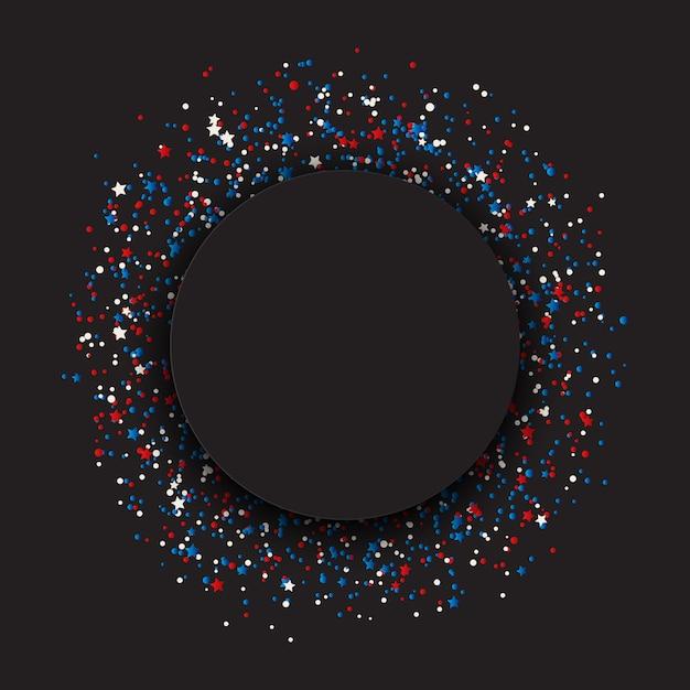 Estrelas de 4 de julho dia da independência e fundo de confetes Vetor grátis