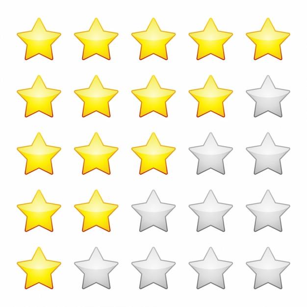 Estrelas de avaliação isoladas. elemento de design ilustração vetorial. Vetor Premium