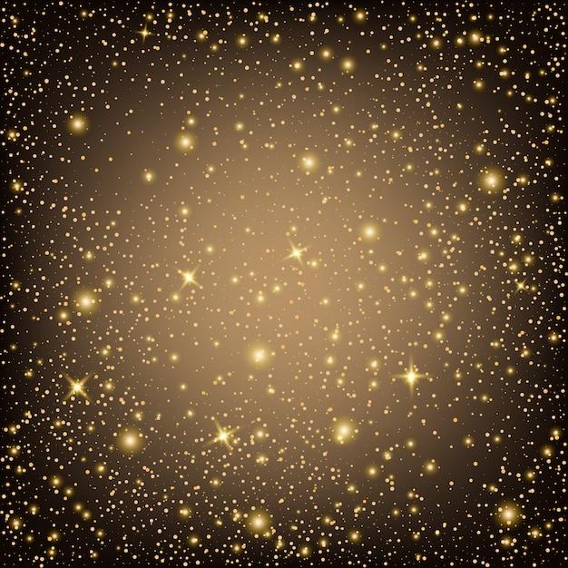Estrelas de efeito de luz de brilho explode com fundo de brilhos Vetor Premium