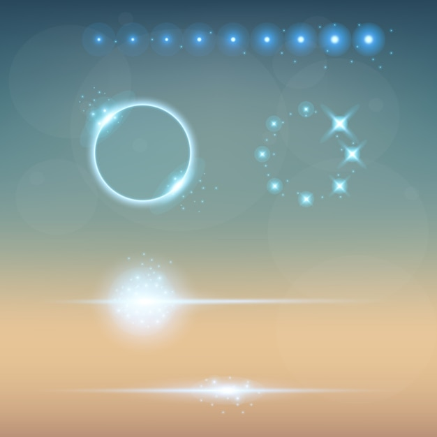 Estrelas de efeito de luz de brilho explodem com brilhos. Vetor Premium
