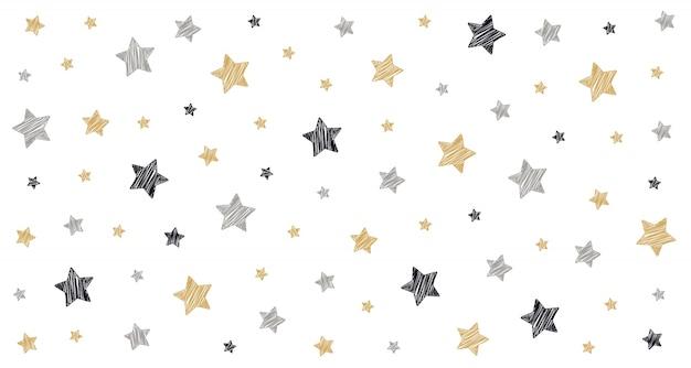 Estrelas de natal rabisco cartão de desenho branco fundo isolado Vetor Premium
