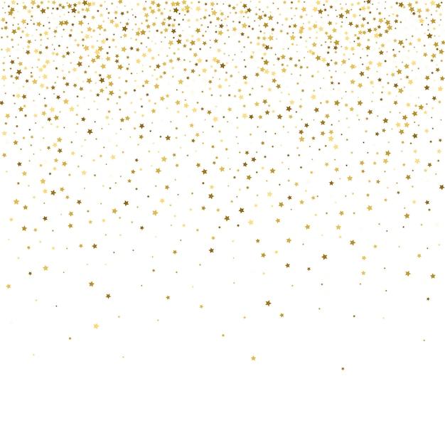 Estrelas de ouro. celebração de confetes, decorações abstratas de ouro caindo Vetor Premium