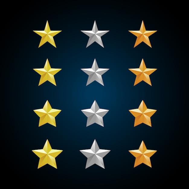 Estrelas de ouro prata e bronze. Vetor Premium
