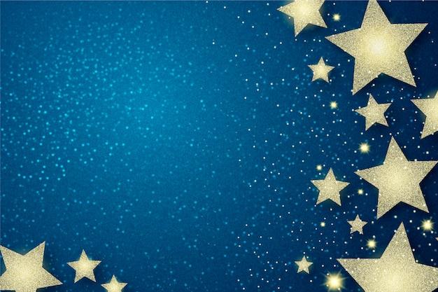 Estrelas de prata e fundo de efeito de brilho Vetor Premium