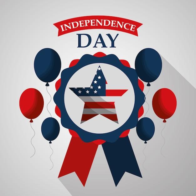 Estrelas em balões de roseta voando o dia da independência americana Vetor Premium