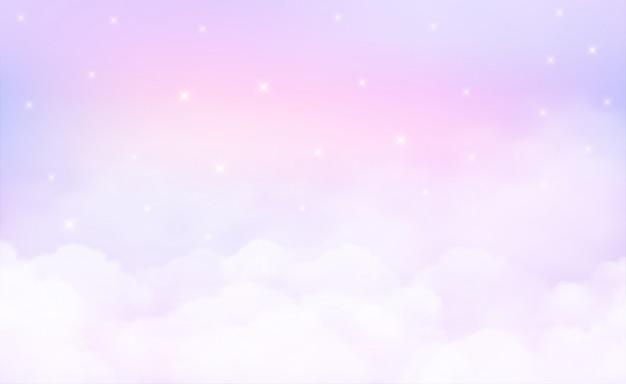 Estrelas em fundo do céu e cor pastel. Vetor Premium