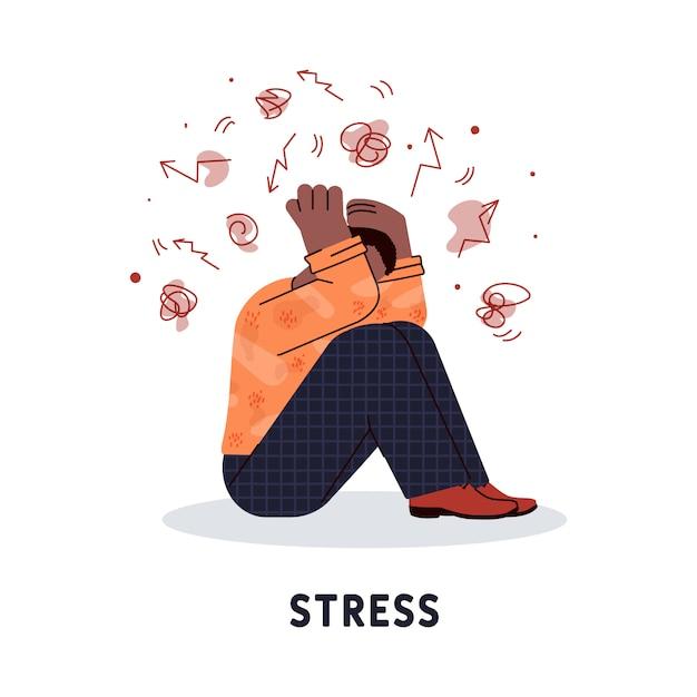 Estressado personagem homem segurando sua cabeça ilustração em vetor isolada. Vetor Premium