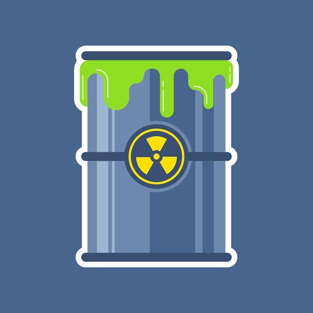Estro de um barril de lixo nuclear. Vetor Premium