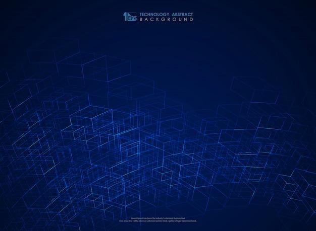 Estrutura da linha geométrica azul abstrato malha fundo futurista Vetor Premium