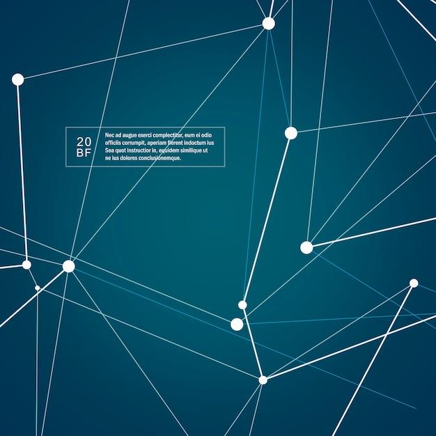 Estrutura de tecnologia abstrata moléculas com formas poligonais em fundo azul escuro Vetor Premium