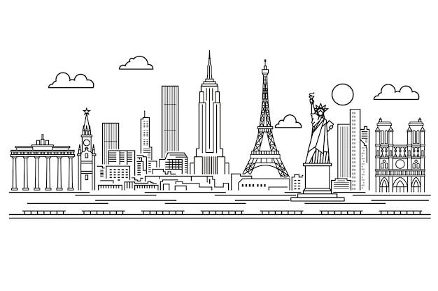 Estrutura de tópicos marcos horizonte preto e branco Vetor grátis