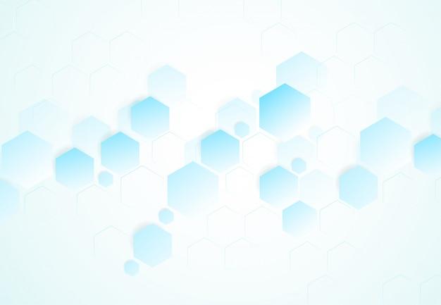 Estruturas moleculares hexagonais abstratas Vetor Premium