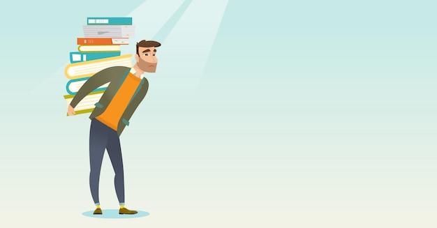 Estudante com pilha da ilustração do vetor dos livros. Vetor Premium