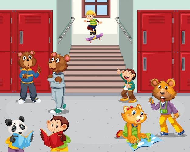 Estudante de animais no corredor da escola Vetor grátis