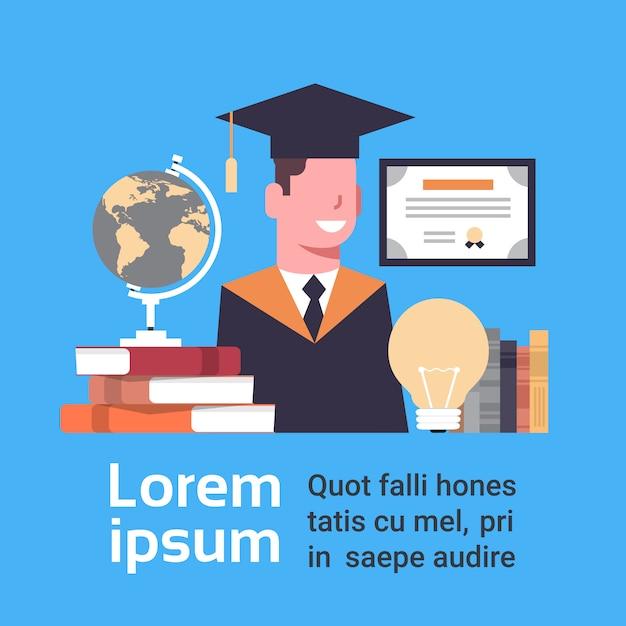 Estudante de conceito de graduação no cap and gown with education elements Vetor Premium