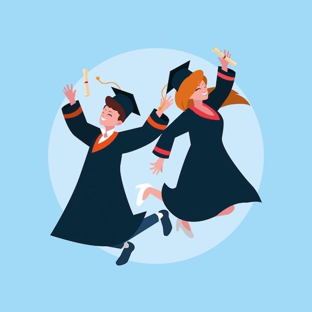Estudante de menino e menina de graduação Vetor Premium