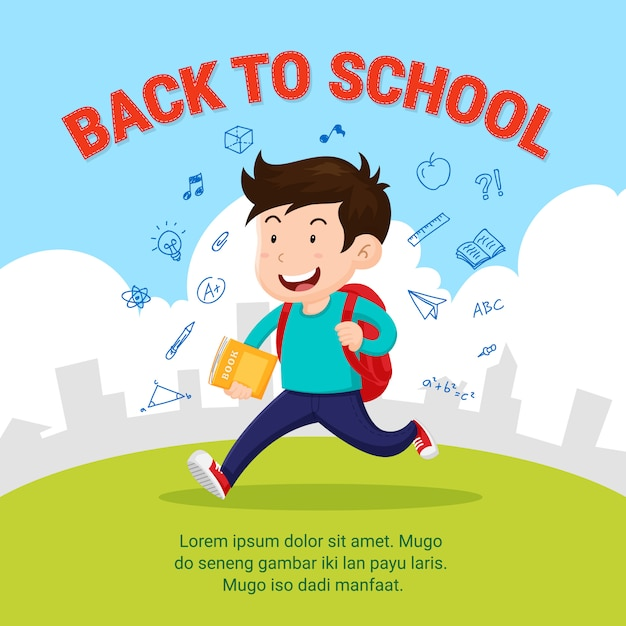 Estudante feliz ir para a escola Vetor Premium