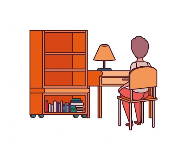 Estudante homem, sentando, em, escrivaninha escolar Vetor grátis