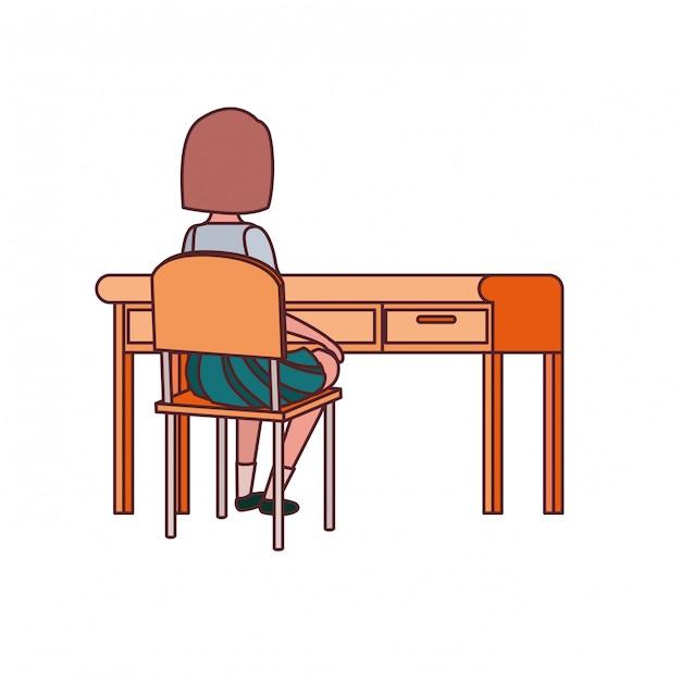 Estudante mulher, sentando, em, escrivaninha escolar Vetor grátis
