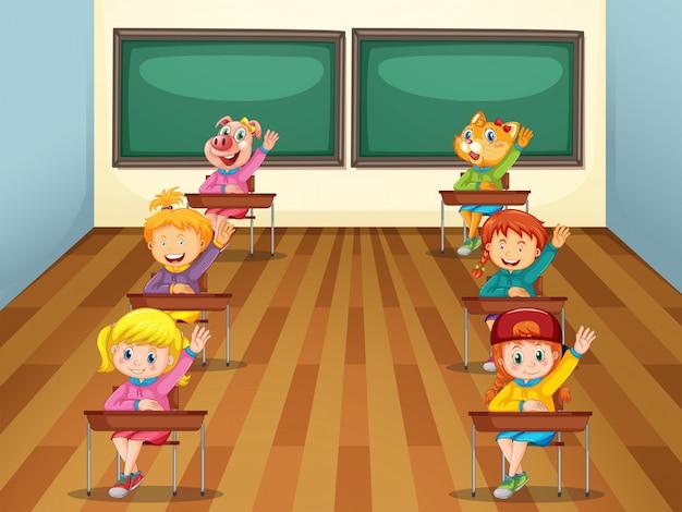 Estudante na sala de aula Vetor grátis