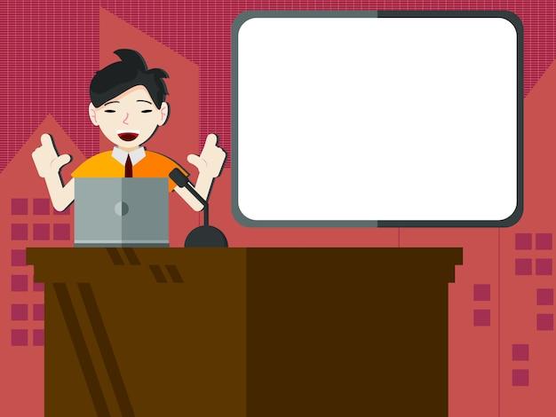 Estudante ou empresário, fazendo uma apresentação com placa de apresentação em branco Vetor Premium