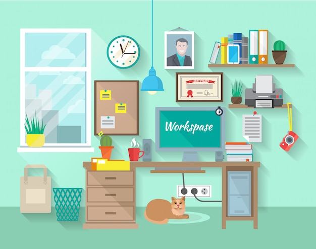 Estudante ou empresário local de trabalho no quarto Vetor grátis