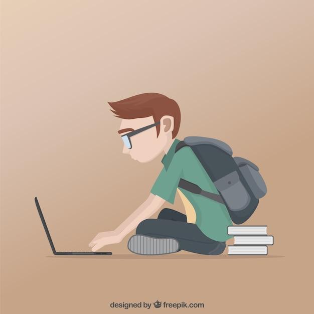 Estudante que estuda em seu laptop Vetor Premium
