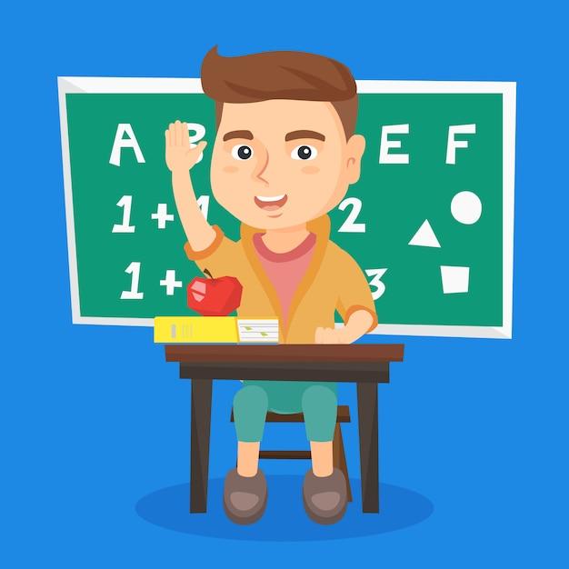 Estudante que levanta a mão ao sentar-se na mesa. Vetor Premium