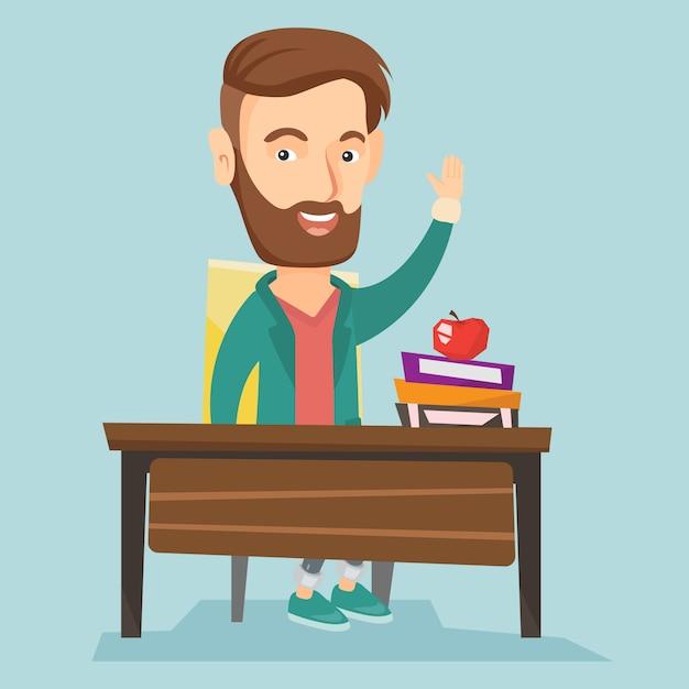 Estudante que levanta a mão na classe para uma resposta. Vetor Premium