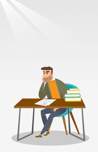Estudante triste que olha o papel de teste com marca ruim. Vetor Premium