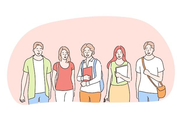 Estudantes, colegas, universidade, educação, conceito de amigos. grupo de jovens estudantes adolescentes sorridentes em pé com livros e tutoriais e olhando para a câmera juntos ao ar livre Vetor Premium