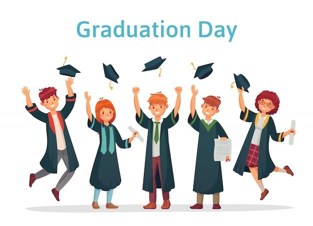 Estudantes de graduação. dia da formatura do estudante universitário, exame de sucesso e grupo da faculdade vomitando ilustração de bonés acadêmicos Vetor Premium