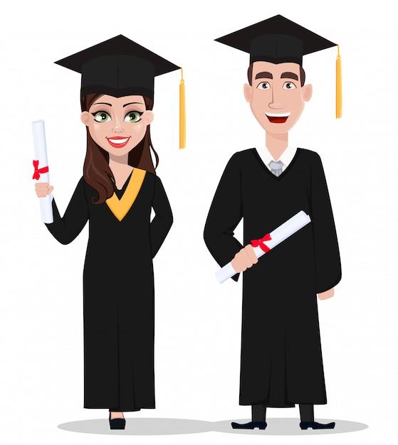 Estudantes de graduação Vetor Premium