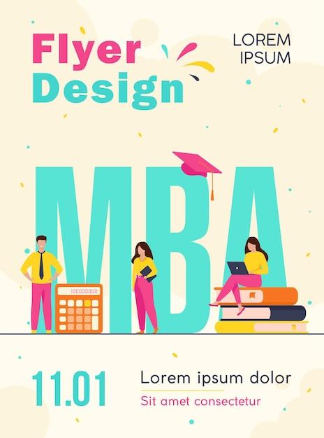Estudantes de pós-graduação estudando administração e gestão de empresas, obtendo modelo de folheto de mestrado Vetor grátis