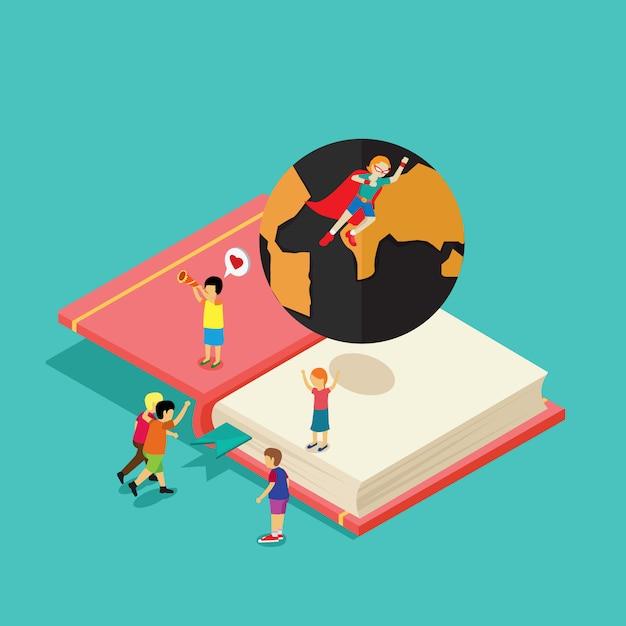 Estudantes do adolescente que aprendem a enciclopédia Vetor Premium