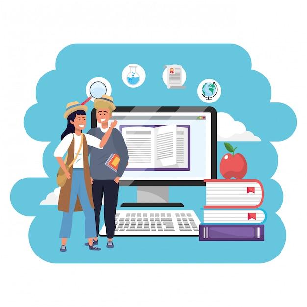 Estudantes milenares de educação on-line Vetor Premium